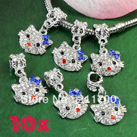 10Pcs Crystal Blue Bowknot Hello Kitty Spacer Big Hole Dangle Beads Fit Charm European Free shipping