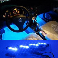 Cool Fashion 4x 3LED Blue Car Charge interior light 4in1 12V Glow Decorative Atmosphere Lamp ,Free shipping!