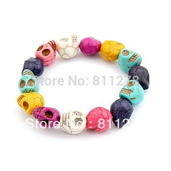 5PCS  multicolor color multi skull Bohemian fashion women elasticity bracelet wholesale Free shipping 2014