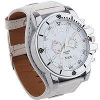Fashion White Wide Leather Watch Fashion Quartz Men Ladies Sport Analog Wrist Watch Large Dial M381W