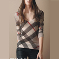 women brit knitwear Long sleeve scoop neck top Diagonal printed check pattern all over classic plaid women's slim sweater tshirt