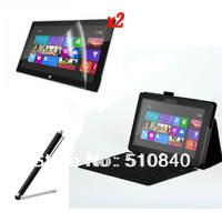New Folio Stand Leather Case Cover +2x Screen Protector Film Guards +Stylus For Microsoft Tablet Surface RT 10.6' +Free shipping