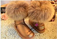 2012 boots knee-high short fox fur raccoon fur genuine leather snow boots winter boots ,free shipping