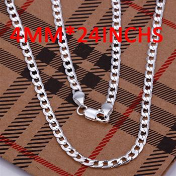 CN41 Men's Jewelry / Free Shipping High Quality /925 Silver 4MM Men's Cable Chain Necklace/ Christmas Gifts / 2012 New Style(China (Mainland))