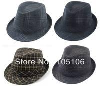 Unisex Fedoras Hats Hat Solid Tweed Fedora Hats Winter Warm Caps Black Grey Brown Mix Color
