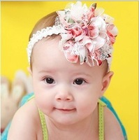 free shipping Flower With Feather Baby Hairbands,Girls Feather Headband,Infant Knitting Hair Weave,Baby Hair Accessories HB001