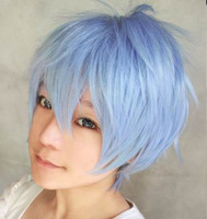 Fashionable anime blue short shaggy layered Kuroko Tetsuya cosplay costume wig.stock.Free sipping