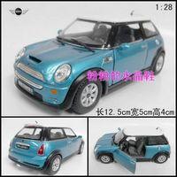 Soft world alloy artificial car model toy car WARRIOR mini minicooper s blue