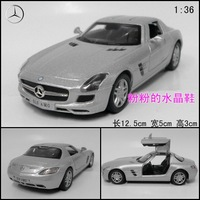 Soft world alloy car model toy sls amg gullable door sports car silver