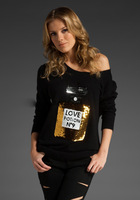 Wildfox sweater no 9 perfume shirt perfume bottle sequin sweater