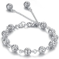 Free Shipping,Big Discount Sale,Hollow Out Ball 925 Sterling Silver Plated Bracelet,Super Christmas Gift Wholesale. S371