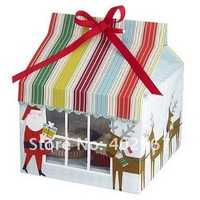 Free Shipping 100pcs/lot Christmas 15x15x20cm Cupcake Packaging Boxes Cake Bags Hold 4 cupcakes PVC Window include insert