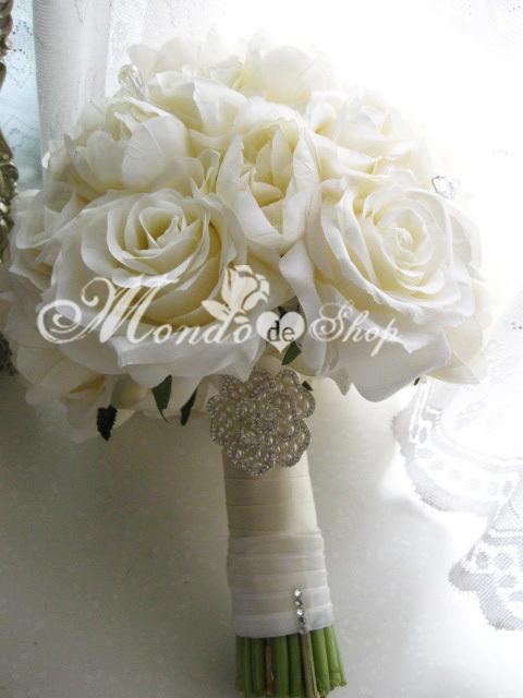 White Wedding Bouquets Online : Silk wedding flowers