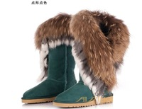 The new winter, tall canister boots, 100% fox wool, 100% rabbit hair snow boots, fur one female boots