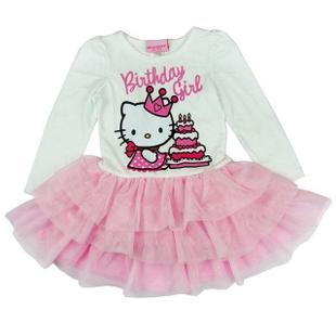 Free Shipping - retail new kids/children/girls hello kitty long sleeve tutu dress, kids dress(MOQ: 1pc)