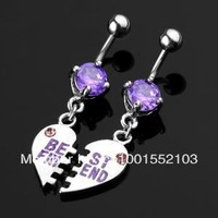 Pair BEST FRIEND Dangle Belly Navel Bar Ring Piercing body jewelry barbell for friends