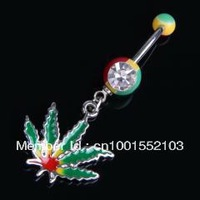 Jamaican Pot Leaf Dangle Crystal Navel Belly Ring Bar dance hot sexy body jewelry