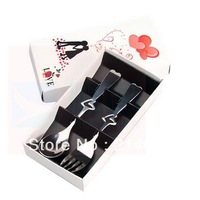 wholesale 2 in1 Heart Shaped Love fork Spoon Wedding lover Favors gift stainless steel dinner tableware christmas 5sets/lot