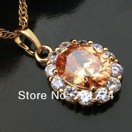 FREE SHIPPING!Lady&#39;s Womens Ornate Copper W/ 18K Gold Plated Champagne Oval Cubic Zirconia Pendant for Necklace Fashion Jewelry(China (Mainland))