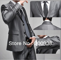 Free Shipping Men's business suit suits western style clothing Light gray two button style