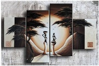 Hand-painted wall art African national bird hill home decoration abstract Landscape oil painting