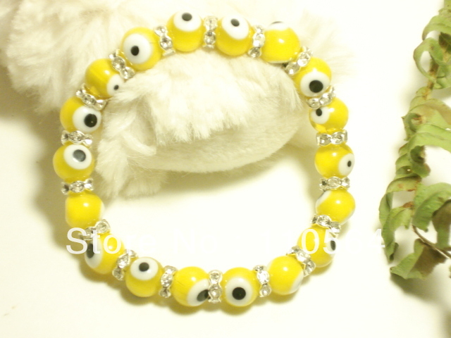 Min.order is $30 (mix order) Wholesale diy jewelry, Crystal Turkey Evil Eye Protection Bracelet ,yellow free shopping(China (Mainland))