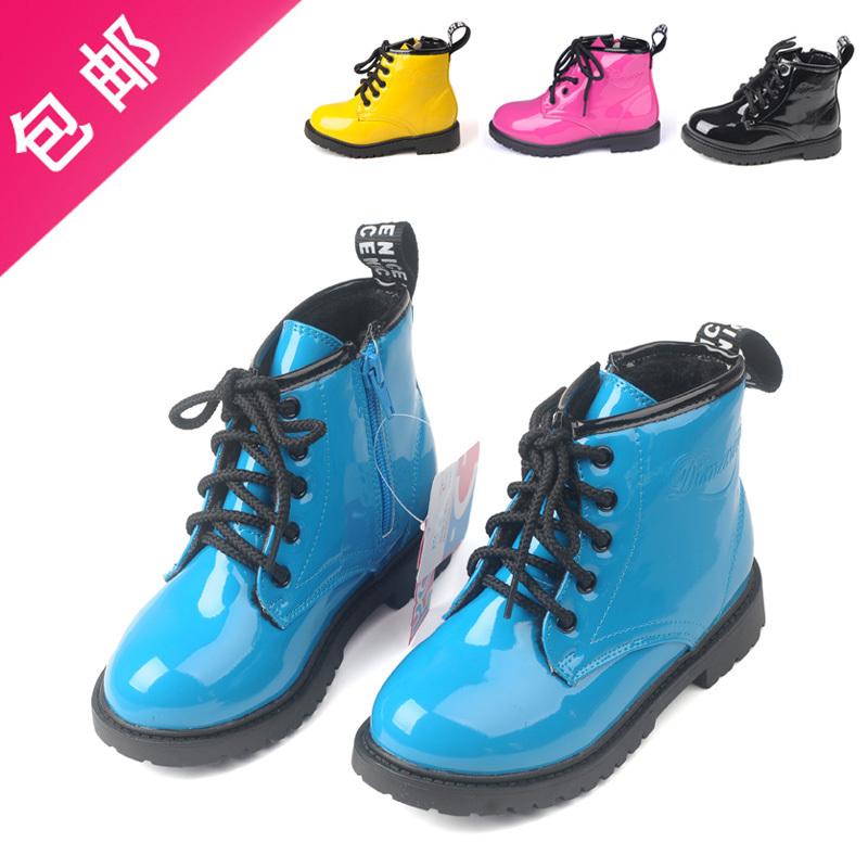 16.5 - 23.3 cm primavera outono crianças criança bebê patente sapatos de couro criança martin botas amarelo azul fúcsia preto sem pele(China (Mainland))