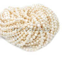 Wholesale 15In/Lot White Natural Potato Cultured Freshwater Pearl Beads, A grade, 8mm, Hole:0.8mm Free Shipping Jewelry findings