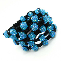 15pcs Whole Price Womens Girl's Fashion Woven Black Ball Blue Gorgeous Disco Bead Beads Shambhala Bracelet New Gift