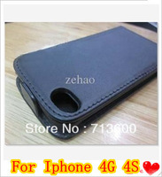 PU Leather Flip Black Case Cover Purse For Iphone 4 4G 4S Iphone4s Iphone4g DHL Free Shipping