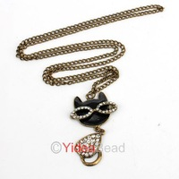 21pcs Fashion Retro Rhinestone Glasses Cat Pendant Necklace Beautiful Sweater Chain Jewelry 261011