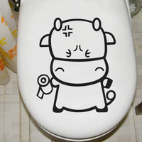 Cartoon toilet stickers glass stickers cabinet door wall stickers