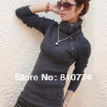 Elastic slim medium-long turtleneck knitted basic shirt ,thickening sweater, outerwear