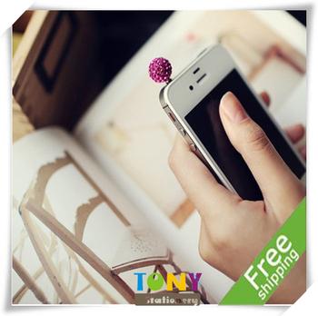 TONY Wholesale Mini Colorful Phone Dust Plug/ Plastic Stopple/Dust Prevent Cover 5 Colors 1.4cm 25pc/lot PF008 Free Shipping