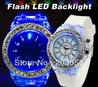 2012 New colorful Led watch jelly watch fashion watch with 7 flash light 10pcs/lot+Free shipping 8color