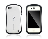 10pcs/lot Free Shipping iFace ultra shockproof cover pc&silicon hard shell cover case for iphone 4 4s,with retail package