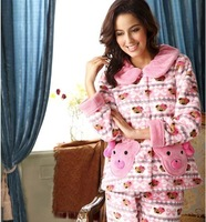Free Shipping autumn and winter sleepwear women's coral fleece set lounge z10928
