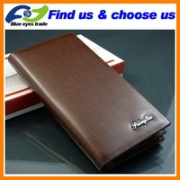 Mini Order $15 Free Shipping Men Purse  Men Wallet  100% Cow Genunine Leather  Grid Lines long Design Wallet  Factory Price