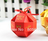 hot sell individual MOQ 300pcs in high quality excellent paper customized red wedding favor boxes