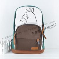 Free Shipping Totoro casual dark coffee school bag backpack travel bag canvas cat bag jetjoy