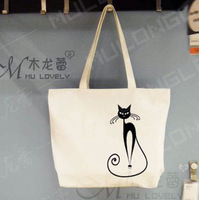 Pure bags the little black cat elegant one shoulder handbag canvas eco-friendly black and white brief female cartoon tote