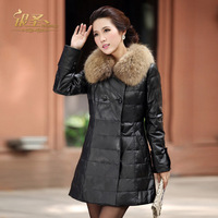 2012 fashion women genuine leather overcoat coat sheepskin medium-long down coat women's leather clothing