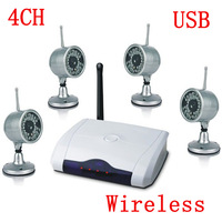 2.4GHz 4Channels Wireless CCTV Camera Kit  With Digital USB DVR ,CCTV Camera Security System Free Shipping Via DHL Or EMS