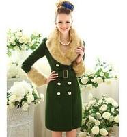 2012 Winter New High-end Army Green Luxury Fur Collar Slim Women's Wool Coat/Jacket With Belt