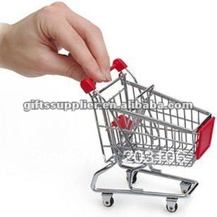 Free shipping Mini shopping cart as like the real shopping cart in the supper market Decoration 4 pcs a lot(China (Mainland))