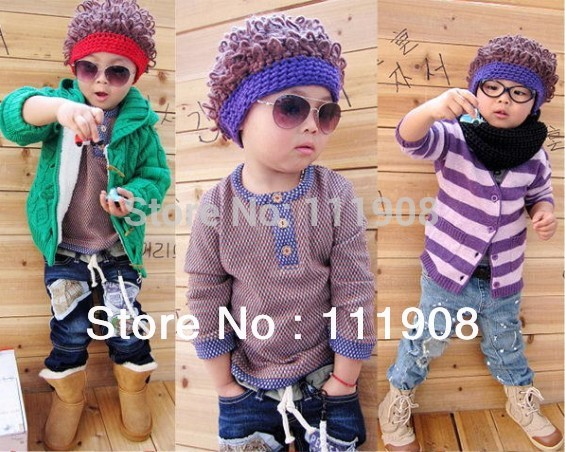 HOT SELLING new arrival kids wig cap,afro cap kids hat,woolen yarn children modeling cap as Christmas gift.(China (Mainland))