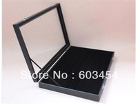49 Pair glass top Cufflinks Storage Case/DISPLAY Box Black wood / Free Shiping