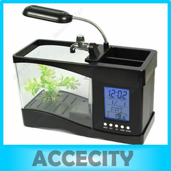 New Mini LCD Desktop Fish Tank Aquarium Clock Timer USB/AA w LED Light Calendar Black Free shipping(China (Mainland))