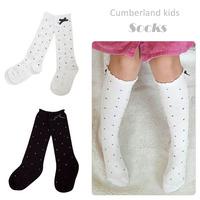 polka dot thin black white baby girls kids knee high socks, child girls leg warmer long socks