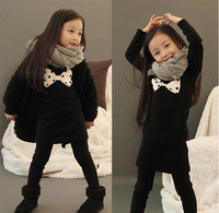 Children's clothing female child autumn and winter 2012 thickening fleece long design thermal sweatshirt slim hip skirt